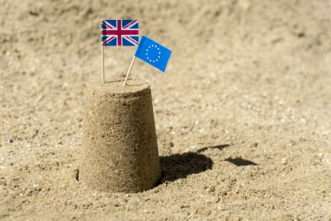 UK and EU Flags Sandcastle